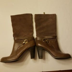 Joan and David light brown suede heeled boots
